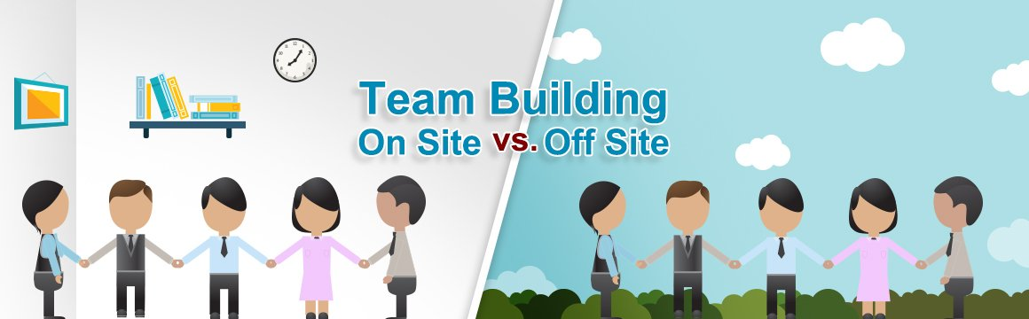 team-building activity on-site vs off-site banner